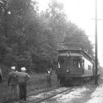 "The back of the photo reads: ""South Shore #1100 & 103, June 8, 1947. CERA railfan special ""in the whole"" for regular pass. run. On return trip pass this spot (nonstop 18 miles in 15 minutes from New Carlisle to Shops) the train hit 90 mph, the fastest speed attained on the entire trip. This new line car rebuilt from Ind. RR RPO #376 never saw speed like that until that time."" The photo is looking west along the CSS mainline at Tee Lake, Indiana. Charles Able photo, from Hoosier Valley RR Museum collection."