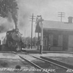 The Pennsy and Monon crossed at Reynolds, Indiana and used this depot. The depot appears to be a standard Panhandle design and parallels the track going across the picture, so that makes me believe the train is on the Monon. Postcard from Bob Albert collection.