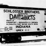 Schlosser Brothers Dairy was at one time the largest dairy in Indiana, having plants at Bremen, Fort Wayne, Frankfort, Indianapolis, Plymouth and South Bend. The dairy leased cars from Quaker City Refrigerator Line for transporting butter from Frankfort to Boston, Philadelphia and New York. I don't know how many cars were leased or what other plants shipped by rail. Photo courtesy of Howard Ameling.