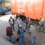 The operating crew of the 2010 Halloween train meets to discuss the trip prior to setting off.