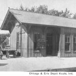 The Erie depot at Kouts, Indiana (Porter County) was located at mile post 214. The depot was probably constructed about 1883-84 and lasted into the 1980s. Postcard from the Bob Albert collection.