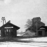 San Pierre, Indiana was the crossing of the Monon and New York Central. I had seen pictures of both railroad's depots and the later joint depot that sat at an angle to the crossing, but this picture threw me for a loop. The depot on the left is the Monon depot that has been moved to an angle to the track and became the joint depot. On the left is the NYC depot that was later moved to Tefft when the joint depot went into service. The angled depot was either replaced or heavily rebuilt at some point in time, since it does not resemble the later depot that was razed in the 1970s. Photo is from Jon Schmidt collection.
