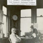 A tower operator hard at work. J. J. (Romey) Gearhart was the operator on the day this photo was taken, probably in the 1920s. HA tower was located at Hamlet, Indiana at the crossing of the New York Central and Pennsylvania railroads. Take a look around the office, wouldn't it be great to be able visit this place. Photo from Almy Awald collection.