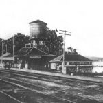 "When a person stepped off a Monon train at Cedar Lake, Indiana they did not have far to go for a swim. The back of this postcard says ""Cedar Lake's third Monon R.R. depot, built in 1898 replacing Armour and Paisley 1882 depots - all along western shores."" Postcard from Bob Albert collection."