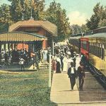 Culver, Indiana was a popular place in the early 1900s. Many excursion trains from South Bend and Logansport came to town on the week-ends. There was a small turntable near the east end of the Vandalia Railroad owned park for turning the engines. The depot shown in the picture burned in 1922 and was replaced with a brick depot. There was a shelter on each end of the depot and, surprisingly, they still survive in the park, which is now owned by the town. The postcard view is from the Bob Albert collection.