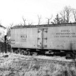 In 1934 the Winona Railroad organized The Winona Refrigerator Car Corporation, which operated twenty-three cars numbered 701 to 723. The primary purpose of the cars were for loading eggs in the Mentone, Indiana area. Mentone was known as the egg basket of the Midwest at this time. This undated photo shows the 701 at an unknown location, apparently the car is out of service because the grab irons to the right are missing. Photo is by Wilfred Nickel, HVRM Collection.