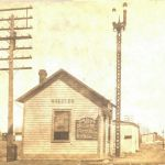 The Nickel Plate depot at Wheeler, Indiana was a small town depot, not much bigger than a section house. The train bulletin board states that the date July 8, 1910 and passenger trains 4 and 5 are on time, as are mixed trains 33 and 34. On Sunday, July 10 an excursion train will stop here at 7 am to pick up people for a day in Ft. Wayne. Postcard is from Bob Albert collection.