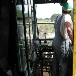 View from the operators cab of the Orton 25 ton rail crane.