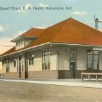 The Grand Trunk Western depot at Valparaiso, Indiana was built around 1910-1917. The building was probably not very old when this photo was made. The depot still stands, but it is up for sale or demolition. The last I heard there was a party that was interested in purchasing and moving the depot. Hopefully it will be saved. Postcard is from the Bob Albert collection.