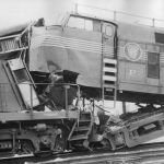 On Friday, January 25, 1957, on the Pennsylvania Railroad, a head on collision occurred at Warsaw, Indiana. I believe that Pennsy shark nose was an eastbound train with four units, the lead unit 9724 is pictured here with its nose on the end platform of the GP type locomotive that it hit. Five crew men were injured and about 150 hogs were killed. Both trains were pulling 116 cars. The AP Wirephoto is from the Bob Albert collection.