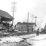 On March 1, 1963, at Argos, Indiana, a Nickel Plate freight train on the IMC District backed into a train on the NKP main line with these results. The depot and a tool house were destroyed, caboose 1089 was damaged and burned on the site and the telegraph office was slightly damaged. Caboose 1089 was a sister to the 1090 on display at our museum. Plymouth Pilot-News photo, Bob Albert collection.