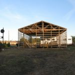 In the summer of 2008, museum volunteers moved a 50' x 100' pole barn from Monterey, IN to North Judson, IN.  Here we see a good part of the building is already up.