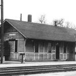 On March 28, 1946, the Erie depot at Rochester, Indiana was still in the less-than-carload freight business. At the east end of the depot is a large stack of chicken crates, some type of freight is on the baggage wagon and several box cars at the freight house dock. Also, note the track speeder on the loading platform. The depot is currently part of the Fulton County Railroad and undergoing restoration. Photo is courtesy of M. D. McCarter Photographs; please check our links page for his catalog.