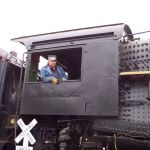 From  time to time 2789 is pulled from the shed.  While the locomotive is outside, some members take advantage and get their photo taken in the cab.